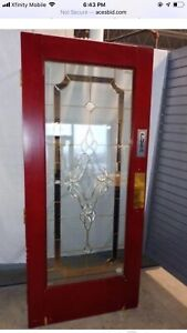Two Stained Glass Swing Restaurant Style Door Panels With Closer 36 X 80