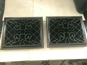 2 Antique Arts Craft Deco Victorian Cast Iron Wall Heat Grate 1 Vent Register