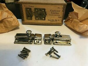 Box 24 Nos Art Craft Deco Nickel Plate Brass Cabinet Cupboard Hoosier Latch Lock