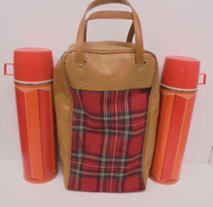 Vtg Thermos Red Plaid Picnic Bag Pair Of Thermos 1974 Classic Car Accessory