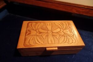 Chest Jewelry Box Vintage Dovetailed Carved Wood Mirror Inside