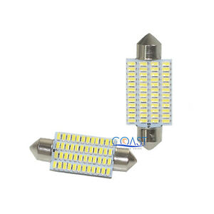 Ultra Bright 48 Smd High Power White Led Door Dome Map Light Bulb 42mm 2 Pcs