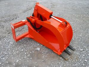 Kubota Skid Steer Attachment Heavy Duty Stump Tooth Bucket Grapple Ship 179