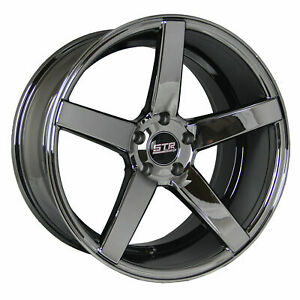 4 New 20 Staggered Str 607 Black Chrome Wheels For 99 Chevy Camaro