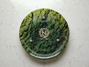 Russian Nephrite Tray With Silver Gilt Legs And Monogram N Marked 84 And A N