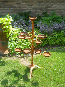 Gorgeous Antique Victorian Cast Iron Plant Stand 9 Revolving Arms 12 Cups