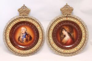 Vtg Carlsbad Fine Porcelain Wall Plaque Plates In Crowned Gilt Metal Frame