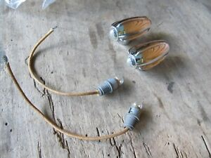 Nos Electroline 55 Jewel Fender Marker Light Heads Indian Scout Harley Flat