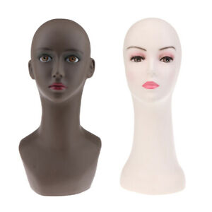 Magideal Set Of 2 Female Mannequin Head Bust Wig Hat Jewelry Display Tool