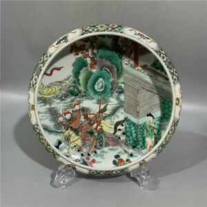 Huge Chinese Antique Wu Cai Color Character War Porcelain Brush Washer