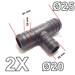 2x 20mm To 25mm T Piece 3 Way Hose Tube Pipe Splitter Connector Air Fuel Water