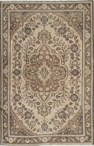 Old Distressed Persian Rug Geometric Beige Muted Over Dye Retro Carpet 3 X 5