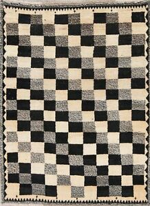 3 X 5 Gabbe Wool Hand Knotted Geometric Oriental Checked Area Rug Black