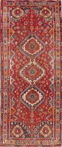 Antique Old Geometric Lori Persian Oriental Hand Knotted 3 X 8 Wool Runner Rug