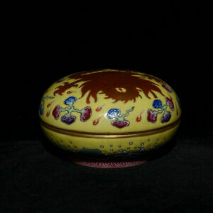 3 Yongzheng Marked Chinese Famille Rose Old Gold Porcelain Fly Dragon Box Case