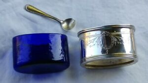 Sterling Silver Salt Cellar With Cobalt Glass Bowl Oval W Spoon England