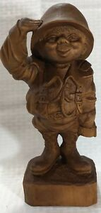 Carved Wood Saluting Soldier In Helmet Statue Approximately 13 5 Military