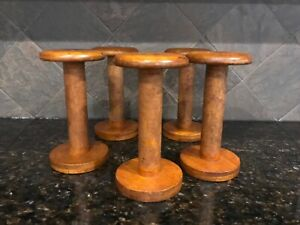 5 Antique Vintage Wood Industrial Thread Spool Bobbin Spindles