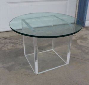 Striking Vintage Mid Century Modern 1 Thick Lucite Side Table Base
