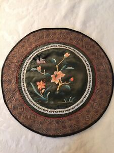 Vintage Chinese Silk Hand Embroidered Forbidden Stitch Panel Tapestry