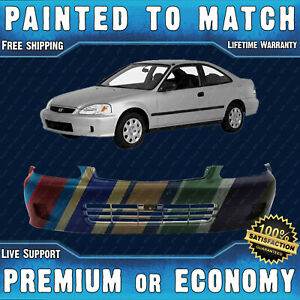 New Painted To Match Front Bumper For 1999 2000 Honda Civic Sedan Hatch Coupe