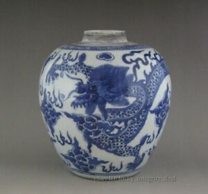 Antique Chinese Porcelain Blue And White Vase Jar Tank Dragon
