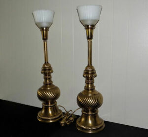 Pair Rembrandt Masterpieces Torchiere Table Lamps Brass Twist Hollywood Regency