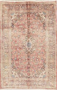 Persian Wool Area Rug Handmade Floral Oriental Traditional Carpet 6x10 Coral Red