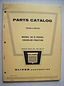 Original Oliver Model Oc 9 Diesel Crawler Tractor Parts Manual Printed 1959