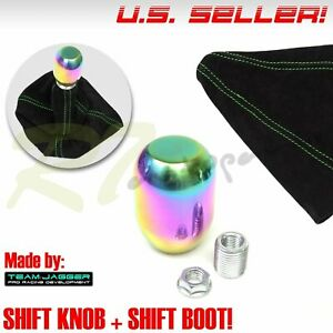 Fit Jeep Dodge M10 Neo Stainless Steel Gear Stick Shifter Knob Green Stitch Boot