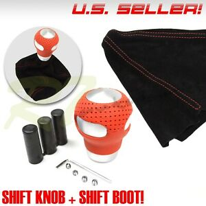 Fit Dodge M12 M8 M10 Red Leather Silver Gear Shift Knob Shifter Red Stitch Boot