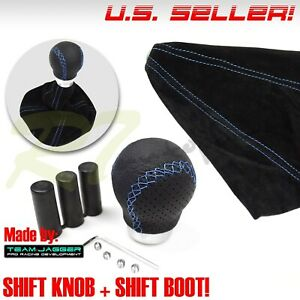Fit Dodge M12 M8 M10 Leather Car Gear Shift Knob Shifter Blue Stitch Suede Boot
