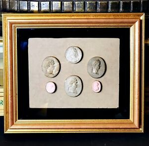 Grand Tour Early 19th Century Framed Italian Plaster Cameos And Intaglios