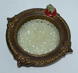 Old Chinese Bronze Dish With Jade Or Hardstone Insert Elephant Carnelian Disc