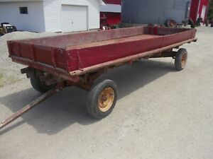 Wagon 16ft Flatbed Or Side Boards Rubber Tires Ready To Use Hay Stone Grain Feed