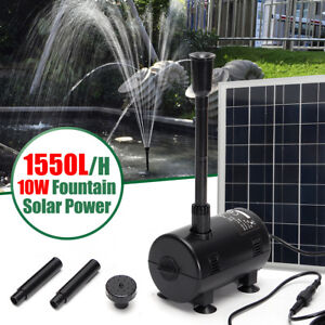 18v 10w Solar Panel Water Pump Set Fountain Garden Pond Pool Submersible 1550l h