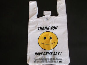 474 Ct Plastic Shopping Grocery happy Face White Standard Full Size Bags