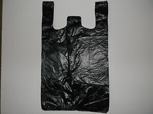 1300 Ct Plastic Shopping t Shirt Type Grocery Black Plain Medium Size Bags