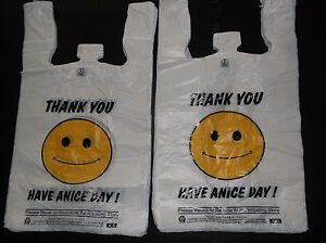 477 Ct Plastic Shopping Bags happy Face grocery Standard Size White 1 6 Size