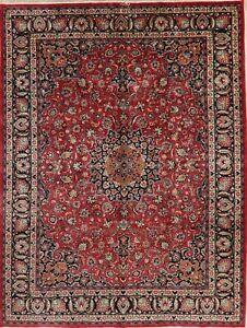 Vintage Persian Wool Area Rug Hand Knotted Floral Oriental Red Carpet 10x13