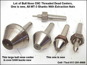 Bull Nose Cnc Threaded Dead Center Lot For Id Od Grinder Mt 3 Shanks Us Made