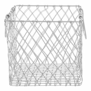 Wire Basket With Handles Square Urban Link Matte Silver Steel 10 5 8 L X 10