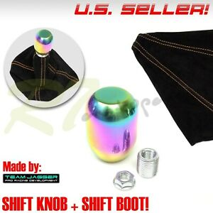 Fit Chrysler Dodge M8 Neo Stainless Steel Stick Shifter Knob Orange Stitch Boot