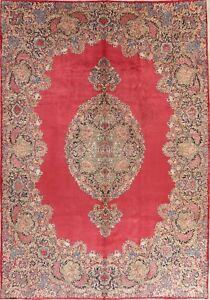Floral Persian Wool Area Rug Hand Knotted Oriental 10 X 14 One Of A Kind Carpet