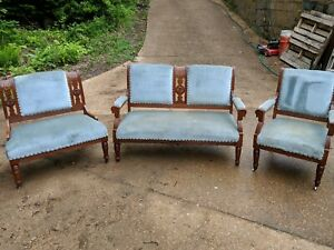 Antique Eastlake Walnut Carved Parlor Set Settee Armchair Gossip Bench