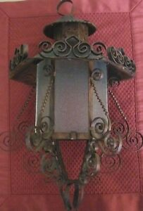 Vintage Rustic Gothic Metal Scrollwork Glass Copper Hanging Light Fixture