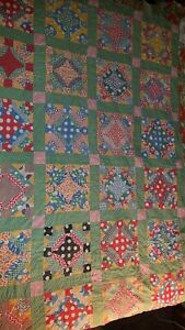Antique 30 S Floral Feed Sack Floursack Quilt Hand Stitched Feedsack Piece