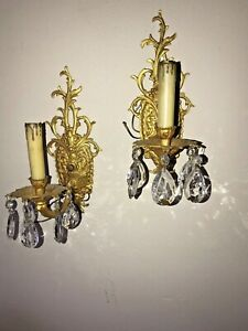 Pair Louis Xv Spanish Gold Gilt Wall Sconces 1 Light Crystals Fine Ornate Tested