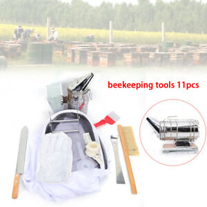 Beekeeping Suit gloves smoker brush tool feeder cage holder fork honey Gate 11pc