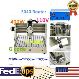 4 Axis Router Engraver Cnc 3040 Wood Pcb Engraving Drilling Milling Machine 400w